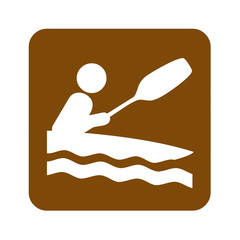 Brown kayaking recreational sign
