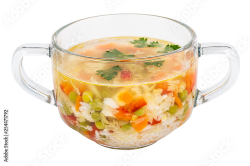 Soup With Chicken Meat Rice Vegetables In Glass