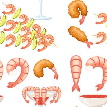 Seamless pattern. Fried shrimp in batter, boiled and kebab shrimp. Sauce for seafood. Tasty restaurant food. Flat vector illustration on white background