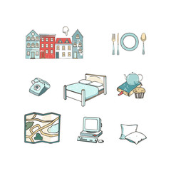 Abstract icons set of planning a vacation, traveling on holiday journey, and passenger luggage. Unusual flat design line icons set hand drawn clip art vector illustration concept grunge texture