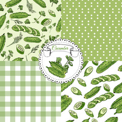 Set of seamless pattern of   hand drawn green cucumbers and herbs. Ink and colored sketch.  Whole and sliced elements.