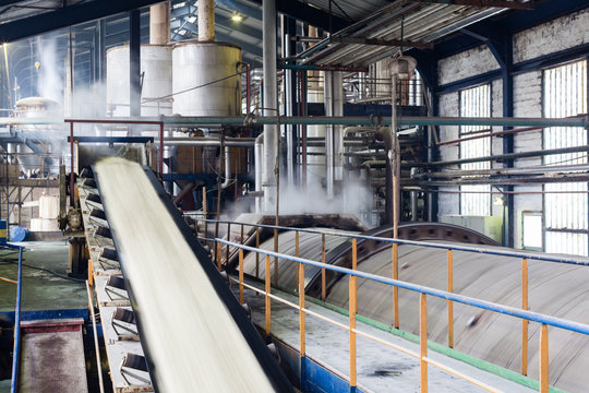 Transport of sugar on the production line