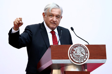 Mexico's President Obrador gives a speech marking the first 100 days of his presidency at the National Palace in Mexico City