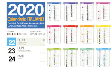 2020 italian calendar with italian holidays, zodiac , saints, moon phases, astronomical events, sunset and sunrise Fotomurales