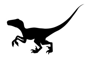 Black silhouette. Brown raptor. Cute dinosaur, cartoon design. Flat vector illustration isolated on white background. Animal of jurassic world. Small carnivore dinosaur
