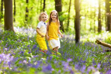 Kids in bluebell woods. Children play in park.