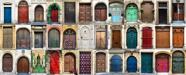 Collage of 36 colourful front doors Fototapete