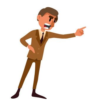 angry man swears. vector isolated illustrationangry man swears
