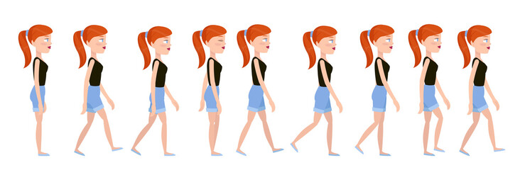 Full cycle gait of a beautiful young girl in shorts. Character for animation walking