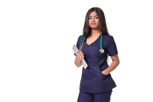 Portrait of young indian doctor woman with stethoscope around neck isolated on white background