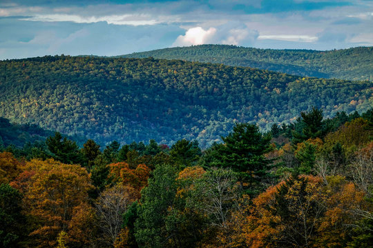 Music Mountain, Connecticut, USA The Berkshire Hills at sunset on a fall autumn day