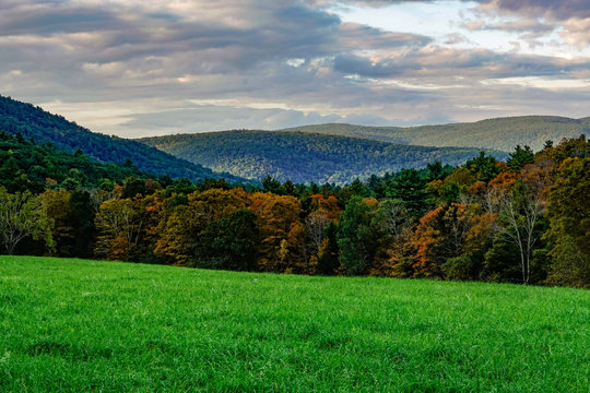 Music Mountain, Connecticut, USA The Berkshire Hills at sunset on a fall autuman day