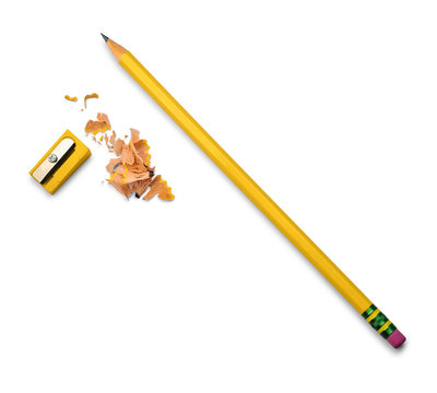 Yellow pencil, yellow pencil sharpener isolated on white background. School or office stationery.