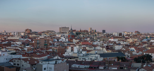 Panoramic image of the city of Madrid at sunset