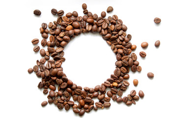 Poster Café en grains circle coffee beans on white background