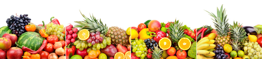 Panoramic skinali from bright fresh vegetables, fruits, berries isolated on white