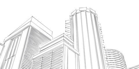 Technical project of the city .Drawing of skyscrapers, buildings.Big cities cityscapes and buildings .