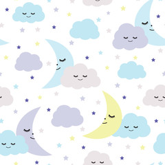 Seamless sleeping moons, clouds and stars pattern vector illustration for kids