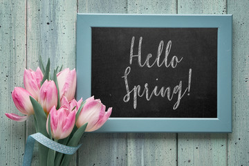 """Chalk board with text """"Hello Spring"""" and pink tulips, flat lay on light green boards."""