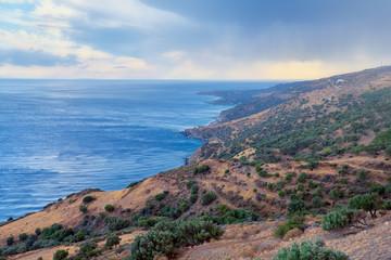 Wild hilly coastline of Creta island