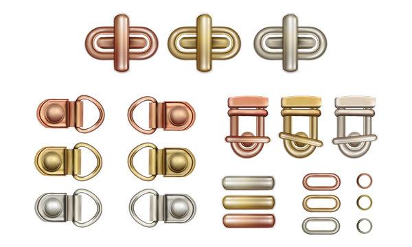 Haberdashery accessories. Metal twist locks for bags. Loops and rings