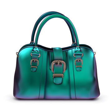 Women's glossy lacquered bag turquoise iridescent color with buckles and short handles. Vector illustration on a white background.