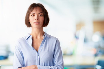 Portrait of attractive secretary professional woman standing in the office