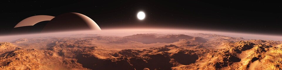 Titan (satellite of Saturn) at sunset, panorama of the red planet at sunrise, the surface of an alien from space