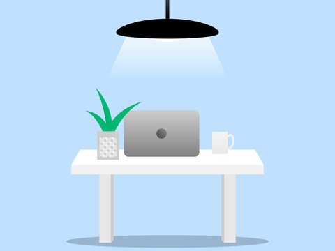Laptop and cup of coffee on the white table lit by a lamp in the middle of a light blue room. Modern office interior with work process icons on the background. Vector illustration.