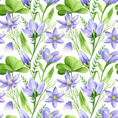 Watercolor seamless pattern in retro style with spring flowers and green leaves. Decorative floral background for Easter, wedding or fabric design in violet and green colors