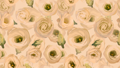 Seamless pattern, background, texture print with light watercolor. Vector illustration. Eustoma cream, peach, orange in watercolor style.  Tender, elegant textile fabric, wrapping Wall mural