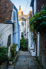 Atmospheric street in the Hastings Old Town, East Sussex, England, UK