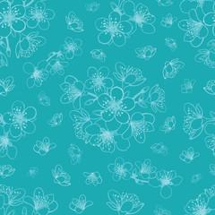 Vector blue cyan cherry blossom sakura flowers seamless pattern background.