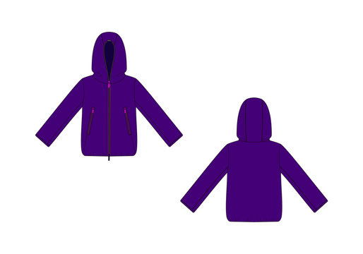 Fashion technical sketch of hooded jacket in vector graphic