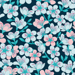 Vector dark blue cyan background with light blue and light red cherry blossom sakura flowers seamless pattern background.