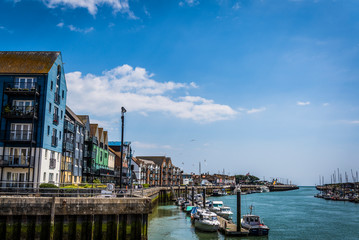 Littlehampton Harbour along the River Arun, Littlehampton, West Sussex, England, UK