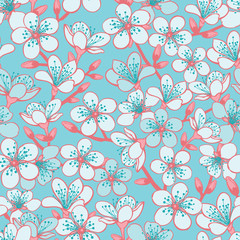 Vector pastel cyan background with light blue cherry blossom sakura flowers and red stems seamless pattern background.