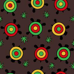 Seamless vector pattern. Rastamanka turtles with hemp leaves on a brown background.