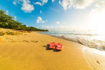 ffcc3c0d6066e Flip flops on the sand in Le Souffleur beach in Guadeloupe