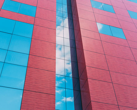red and blue window curtain building