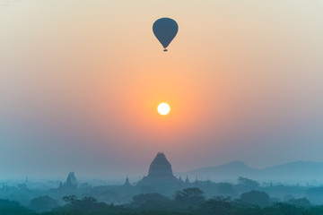 silhouette photography of hot air balloon