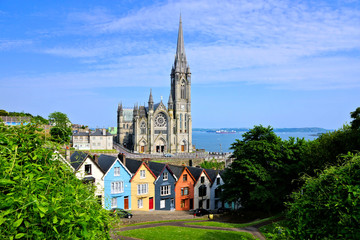 Colorful row houses with towering cathedral in background in the port town of Cobh, County Cork, Ireland Wall mural