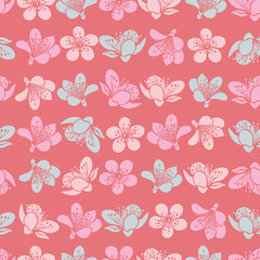 Vector pastel light red cherry blossom sakura flowers and seamless pattern background.