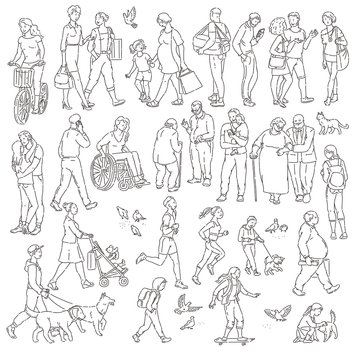 Vector walking urban crowd on street in city. Children and adults in various situations. Woman with kids people with dogs pigeons bicyclist and other characters black white line art.