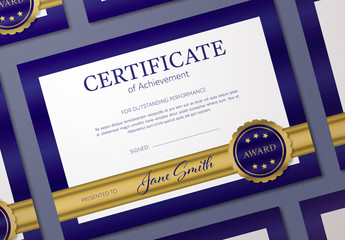 Certificate of Merit Layout with Blue Border