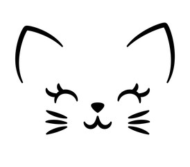 Cute cat logo isolated on white. Kid design for school books, t-shirts, textile and more. Animal print.