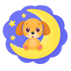 Cute cartoon little dog sitting on the moon with bright stars background. Kid print, good night or greeting card template. Vector illustration for your design.
