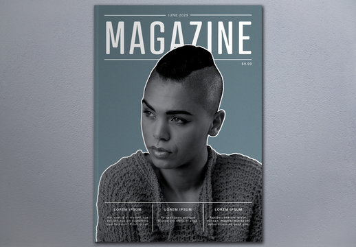 Magazine Cover Layout with Teal Background