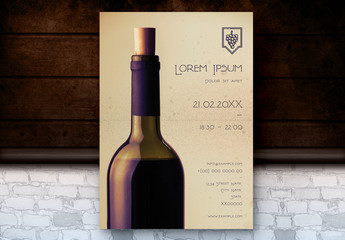 Poster Layout with Wine Bottle Photo Element