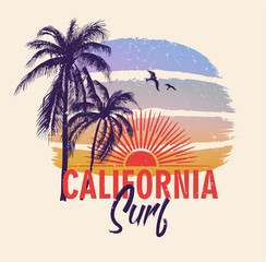 California surf. Colorful poster with palm trees and sun. T-shirt print with inscription, summer design for youth, teenagers.